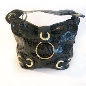 Big Buddha black snakeskin patent leather handbag
